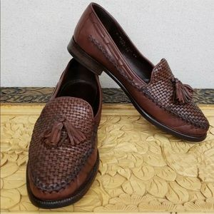 Cole Haan Loafers Brown Woven Leather Tassel Shoes